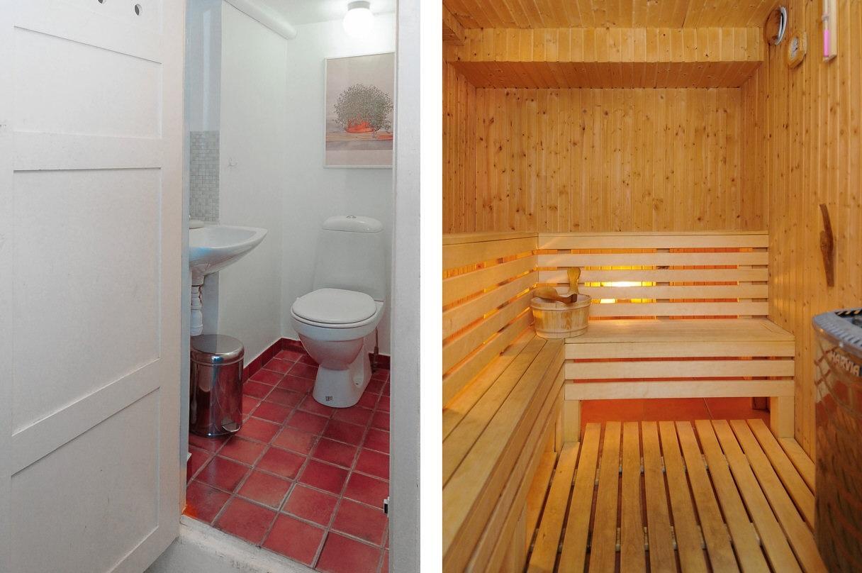 Föreningens bastu med wc, dusch och lounge